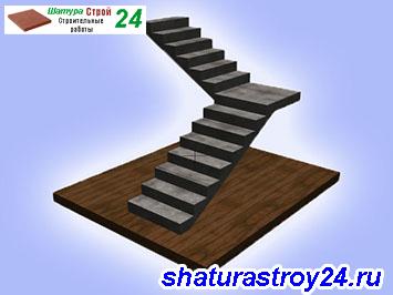 Лестница прямая Г-образная с площадкой