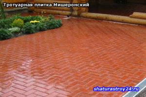 Укладка тротуарной плитки Кирпич (посёлок Мишеронский Шатурский район Московская область)