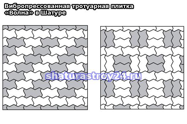 Разные схемыукладки тротуарной плитки Волна