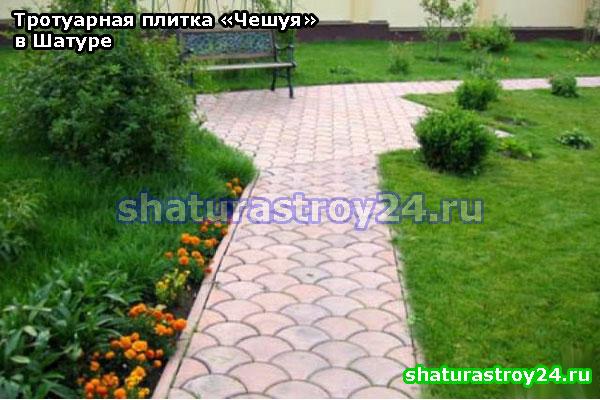Пример укладки плитки Чешуя на тротуаре.