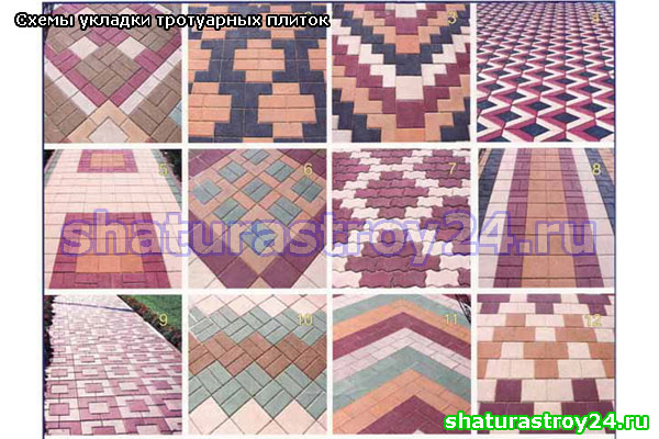 схема с применением разноцветных и разнотипных плиток: